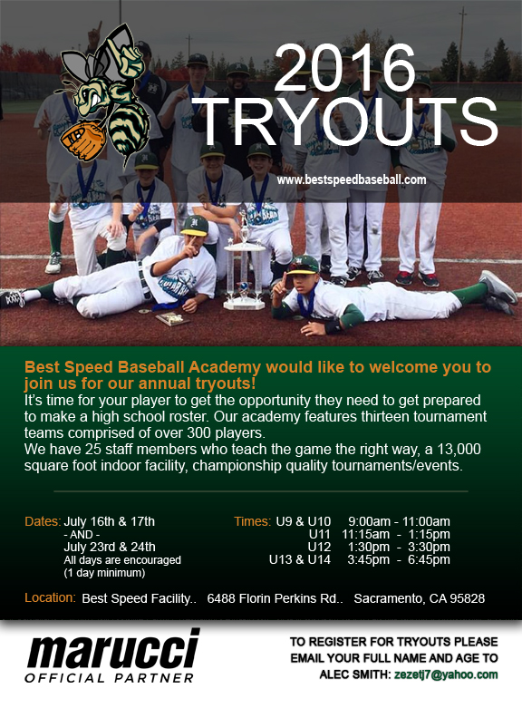 2016 Tryouts Are Here Best Speed Baseball Academy